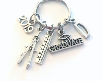 Graduation Present for Architect Keychain, 2019 Engineer Key Chain, Graduate Grad Keyring with Initial letter, men Women man Industrial