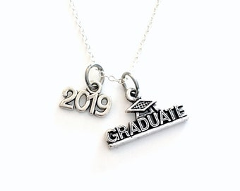 2019 Graduate Jewelry Necklace, Graduation Gift for Teen Boy or Girl, Silver Grad initial Birthstone custom personalized letter teenager him