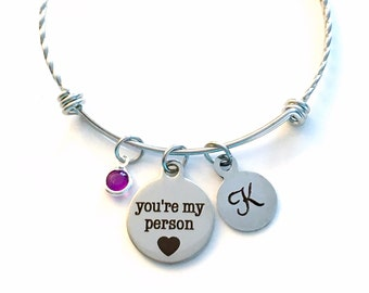 Stainless Steel You're My Person Bracelet Twisted Charm Bangle, Silver Jewelry Gift for Best Friend BFF, Youre Your You are Grey's Anatomy