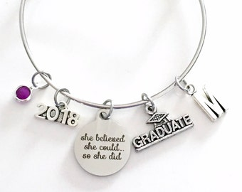 She believed she could so she did Graduation Gift 2018, Charm Bracelet School Student Grad Silver Bangle Jewelry College for her girl 2019