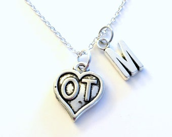 Occupational Therapist Gift, OT Necklace, Therapy Jewelry, Silver Heart Charm Personalized for birthday present for men women her coworker