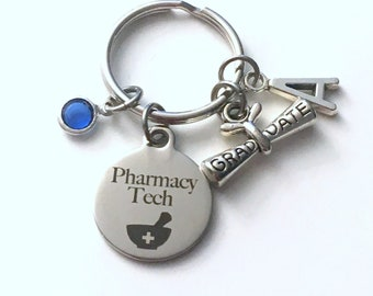 Graduation Gift for Pharmacy Tech Keychain, Scroll charm Rx Technician Key chain Keyring her women letter initial custom Man Men Him