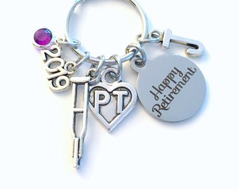 Retirement Gift for PT Keychain, 2019 Physical Therapist Key Chain, Therapy Keyring, Crutches Crutch for her men letter initial him women