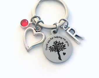 Gift for Teacher Keychain, Thank you for helping me grow Key Chain, Mentor Keyring, Heart present for sunday school, Daycare Nanny tree