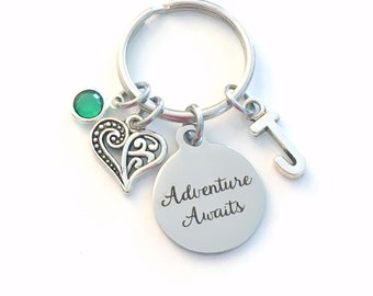 Adventure Awaits Key Chain, Moving Away Keychain, Gift for Best Friend Present, New Job Keyring, Birthstone Initial Birthday BFF Going away