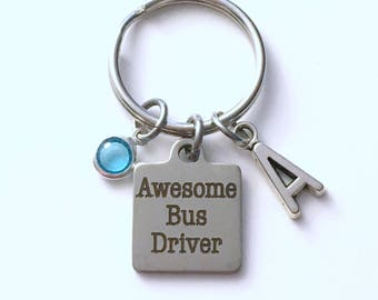 Bus Driver Key Chain, Awesome Bus Driver Key chain, Thank you Keyring, Gift for Women Initial letter birthstone woman her School Thanks men