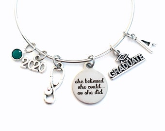 Medical School Graduation Bracelet, 2020 Jewelry Gift for RN LPN Paramedic Vet Student Nurse, She believed she could so she did her can