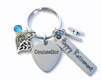 Retirement Gift for Counsellor Keychain, Counselor Key Chain, Initial Birthstone Retire Present men women her him happy heart therapist ring