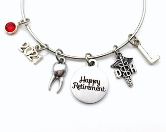 Retirement Gift for Dental Hygienist / 2021 Dentist Assistant Charm Bracelet /  DH or DA Jewelry Silver Bangle / Dental Tooth Present