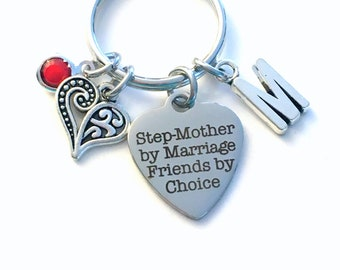 Gift for Stepmom Keychain / Step Mother by Marriage, Friends by Choice Key Chain / Mom Present Jewelry Keyring / Wedding Bride Groom Keyring