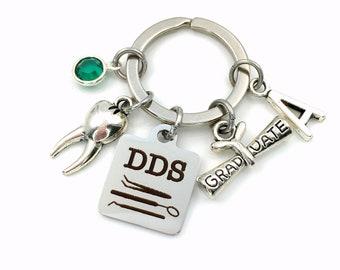 Graduation Gift for DDS Keychain / Doctor of Dental Surgery Grad Keyring / Dentist Graduate Present / Tooth Key Chain / men women him her