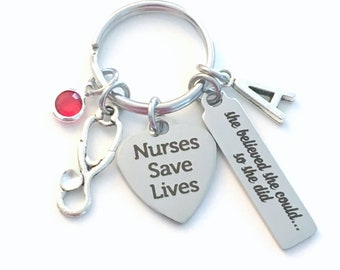 Graduation Gift for Nurse Keychain, She believed she could so she did Key Chain, Nurses Save Lives Keyring ring, Present her Stethoscope bar
