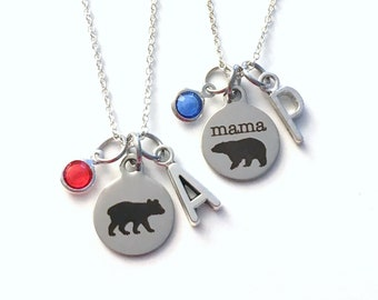 Mama Bear Jewelry Set of 2 3 4 5 6 or 7 Baby Grandma Necklace, New Mother Gift for Birthday, Birthstone Initial matching present from kids