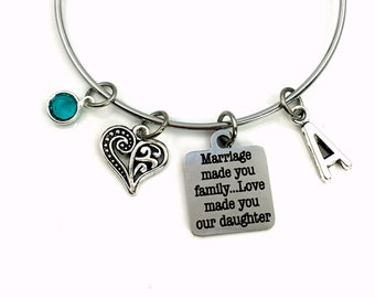 Daughter in law Gift / Wedding Gift Jewelry / Charm Bracelet / Mother's Day Present / Marriage made you family, Love made you our daughter