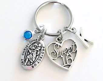 Gift for Sixteenth Birthday Keychain, Sweet 16 Sixteen Keyring, Saint Christopher St Key chain, Initial Gift present protection new Driver