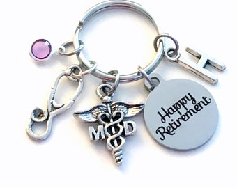 Retirement Gift for MD Keychain,  Medical Doctor Key Chain, Physician Keyring, GP Dr PhD PhD Initial letter birthstone woman man men women