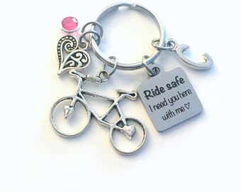 Ride safe I need you here with me Keychain, Valentines Day Present for Her Key Chain Mom, Bike Bicyclist Daughter wife Keyring cyclist biker