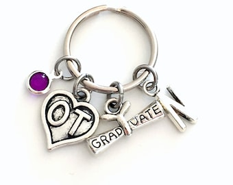Occupational Therapist Key Chain, Gift for OT Therapy Graduation Present, Graduation KeyChain Heart Jewelry Initial Birthstone present her