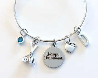 Retirement Gift for Cook or Nutritionist Charm Bracelet, School Lunch Lady Jewelry, Silver Bangle Dietitian initial women letter her chef