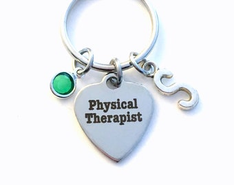 Physical Therapist Key Chain, PT Keychain, Gift for Physical Therapy Keyring, PTA Grad with Initial letter present birthstone retirement