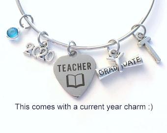 Teacher Graduation Bracelet, Teaching Grad Gift for Education Student 2021 Silver Bangle Jewelry Graduate Charm letter initial her women