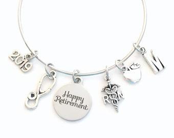 School Nurse Retirement Gift for RN, Charm Bracelet Boss RN Jewelry Silver Bangle Coworker initial women initial custom Christmas Present