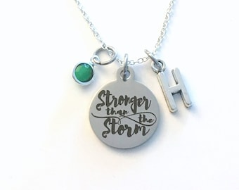 Stronger than the storm Necklace, Gift for Women quote Jewelry, Motivational Present initial letter silver Quote her charm encouragement