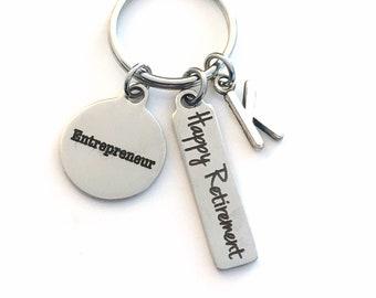 Retirement Gift for Entrepreneur Keychain, 2021 Business Owner Keyring Retire Key Chain Present him her women Men New Start up Venture