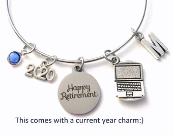 2021 Retirement Gift for Women / Computer Engineer Jewelry / Business Owner Charm Bracelet / Silver Bangle for Coworker Present / Laptop