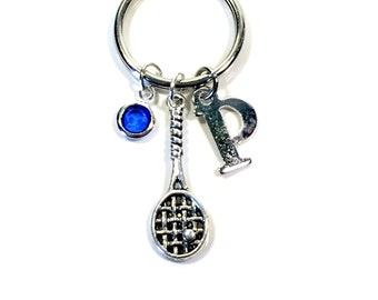 Squash Keychain, Gifts for Racquetball Player Keychain, Squash Racket Key Chain, Silver Tennis Keyring, Badminton Racquet Ball Jewelry Coach