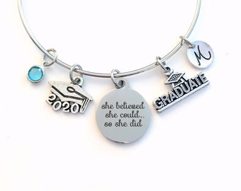 She believed she could so she did Graduation Gift / 2020 Grad Cap Charm Bracelet / School Student Jewelry / Silver Bangle / College for her
