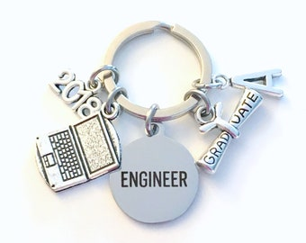 Graduation Gift for Software Engineer Keychain, Computer Key chain, Laptop Grad Keyring Initial present him her jewelry Science men scroll