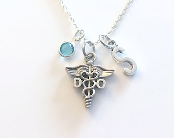 DO Gift, Doctor of Osteopathic medicine Necklace, Osteopath Jewelry, Silver Caduceus Charm Personalized present for men women him Canadian