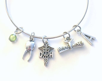 Graduation Gift for DH Bracelet, Dental Hygienist Jewelry,  Dentist Assistant Charm Bangle, DA Tooth Silver Medical Caduceus birthstone her
