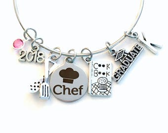 Culinary Graduation Bracelet, Chef Grad Jewelry, Student Gift Graduate Cooking 2018 or 2019 Silver Charm Bangle Cuisine Food Women Her Book