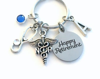 Retirement Gift for NP Keychain, Caduceus Nurse Practitioner Key chain Assist Keyring Retire Coworker Initial letter her Nursing year