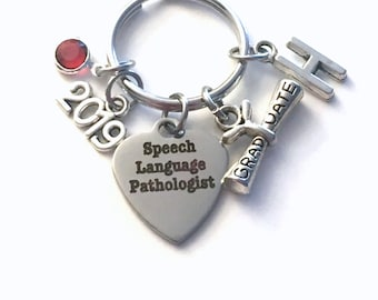 Graduation Gift for Speech Language Pathologist Keychain, 2019 Speech Therapy Key Chain, Initial Birthstone Grad Present Keyring 2019 SLP