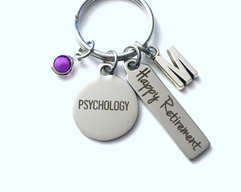 Psychology Retirement Present, Psychologist Keychain, Gift for Women or Men Retire, Key Chain Keyring him her Personalized Custom