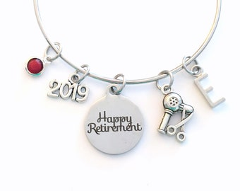 Retirement Gift for Hairdresser, 2019 Hair Stylist Salon Women comb Charm Bracelet Jewelry Silver Bangle Coworker initial birthstone Present