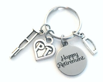 PT Keychain Retirement Key Chain, Physical Therapist Keychain Heart Caduceus, therapy Keyring, crutch charm Initial letter her him women