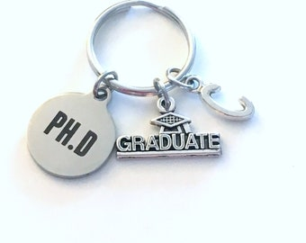 PH. D Graduation Gift, 2020 PH.D Keychain for Doctorate Student Grad University Key Chain Keyring Graduate Doctor of Philosophy letter 2021