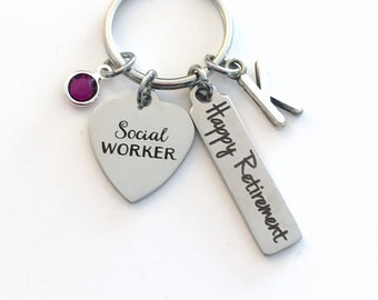 Social Worker Keychain, Gift for Retirement Key Chain, Coworker Present, Mom, Dad, Keyring Jewelry Initial Birthstone Co Worker Boss Happy