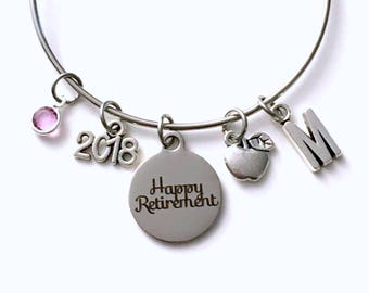 Retirement Gift for Food Service Worker Charm Bracelet, 2018 Waitress Jewelry Silver initial Present bangle apple dietician nutritionist