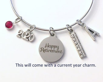 Retirement Gift for Teacher Jewelry / 2021 Interior Designer Charm Bracelet / Silver Ruler Bangle / Coworker Present / Silver Principal Boss