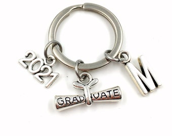 2021 Graduation Gift / Graduate Scroll Keychain / Gift for High School Grad Key Chain /  College Keyring / Her Him boy girl Men Women
