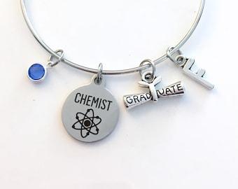 Graduation Gift for Chemistry Grad Charm Bracelet, Chemist Science Student Silver Bangle custom initial birthstone women her woman