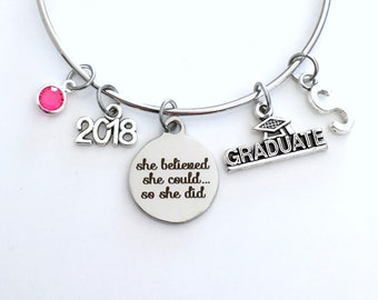 Graduation Bracelet Gift 2018, She believed she could so she did University Jewelry College High School Student Grad Silver Bangle present