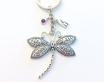 Dragonfly Keychain, Large Dragon Fly Key Chain, Dragonflies Silver Charm, Custom Personalized Gift for Teen Girl her women insect bug animal