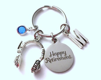 Retirement Gift for Sound technician Keychain, 911 emergency dispatcher Key chain, phone operator Keyring Initial letter men women her him