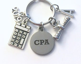 CPA Graduation Key chain, 2019 Chartered Professional Accountant Present Keychain Gift for Grad Keyring Initial present him her jewelry